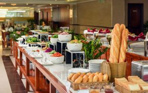 Breakfast buffet of Van Phat Riverside with many fresh and delicious dishes for a new day full of energy.